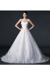 Sweetheart A-line Applique Wedding Dress With Zipper Buttons Back Of 2015