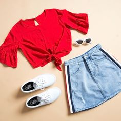 Darlina Top - Red, Bailey Skirt - Light Indigo, Authentic Sneaker - True White Source by clothing outfits Cute Teen Outfits, Teenager Outfits, Cute Summer Outfits, Outfits For Teens, Pretty Outfits, Stylish Outfits, Girl Outfits, Girls Fashion Clothes, Teen Fashion Outfits