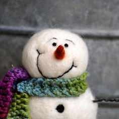 Snowman, Needle felted wool snowmen, hand spun and hand knit scarf