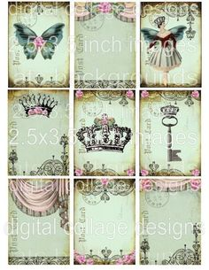DaiNTy PaSTeLs DIGITAL COLLAGE SHEET CRoWNs BaLLeRiNa BuTTeRFLy pink roses antique paper postcard hang tags scrapbooking s23