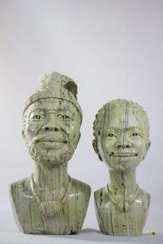 Butter Jade Shona Husband & Wife Sculpture - Shona Art in Art, Art Sculptures Sculpture Art, Sculptures, Jade Stone, Husband Wife, Butter, Statue, Beautiful, Butter Cheese, Sculpture