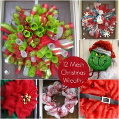 Use your favorite colors of deco mesh to create these DIY Christmas mesh wreaths! Learn how to make using these simple tutorials. Such great ideas! Diy Christmas Ribbon, Christmas Mesh Wreaths, Christmas Crafts, Winter Wreaths, Spring Wreaths, Summer Wreath, Homemade Christmas, Wreath Crafts, Diy Wreath