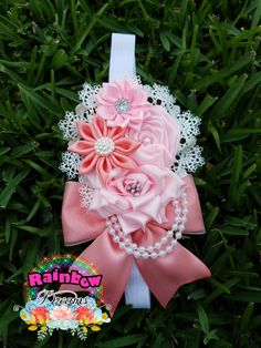 Coral and pink headband vintage style.