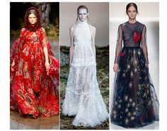 20 trends for Fall/Winter 2014-2015 Fairytales, from left to right:  Dolce & Gabbana, Alexander McQueen, Valentino
