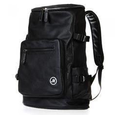 Unisex PU Leather Backpack Laptop School Travel Shoulder Bag