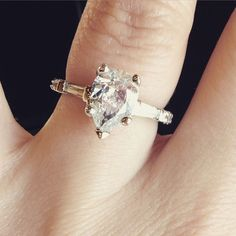 Shannon's amazing custom designed engagement ring for a Pear center diamond! Learn more about our awesome custom design service > Pear Diamond Rings, Designer Engagement Rings, Pear Shaped, Service Design, Custom Jewelry, Awesome, Amazing, Custom Design, Wedding Day