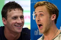 Who's the better Ryan?  Lochte vs Gosling.  This kinda confirms Sarah's theory that Lochte is the Britney Spears of swimming.