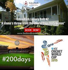 #200 days left till the World Cup Begins.  Book your luxury room now www.bedandbreakfastnz.com