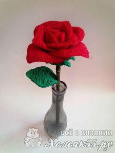 Flower Patterns, Crochet Patterns, Crochet Flowers, Diy And Crafts, Vase, Handmade, Crochet Smock Tops, Crochet Stitches, Leaves