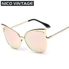 High Quality Cat Eye Female Sunglasses Gold  MetalGafas de sol Reflective Summer Outdoors Glasses Vintage Sexy Occhiali da sole-in Sunglasses from Women's Clothing & Accessories on Aliexpress.com | Alibaba Group