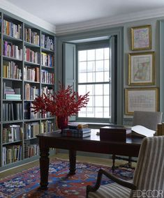Stunning Library Room Design Ideas With Eclectic Decor - Page 26 of 58 - Best Home Decor List Home Renovation, Home Remodeling, Home Office, Home Luxury, Luxury Homes, Library Room, Library Table, Green Library, Cozy Library