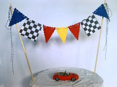 Cake Topper Boys Race Car Flags, Nascar, Monster Truck Cake Bunting Flags