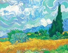 free cross stitch pattern based on Van Gogh painting of a wheat field.