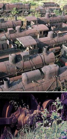 Rusty steam locomotives abandoned at a locomotive graveyard at Thessaloniki, Greece