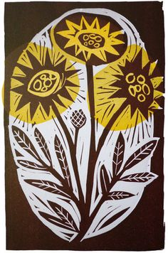Mark Hearld, 'Flowers,' linocut print, edition of 95, 184 mm. x 122 mm.