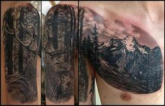 Mountain and deer tattoo