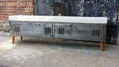 Vintage Brushed Steel Locker Storage Bench by LockerSteel on Etsy, $985.00