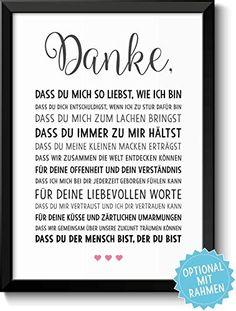 DANKE Liebe - schöne Liebeserklärung – Rahmen optional – Geschenk Geschenkidee Weihnachten Geburtstag Jahrestag Hochzeitstag Hochzeit Männer & Frauen