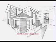 how to draw complex spaces in two point perspective - YouTube