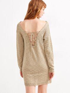 Apricot Lace Up V Back Drop Shoulder Sweater Dress