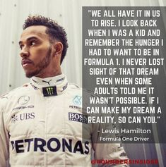 """Lewis Hamilton, (& counting) World Champion. The kid from Stevenage who broke the """"colour bar"""" in Formula 1 in F1 Lewis Hamilton, Hamilton Quotes, Watch F1, Stevenage, Why I Love Him, Odell Beckham Jr, Formula One, Looking Back, First World"""