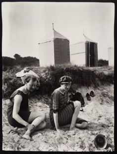 Clive Bell and Virginia Woolf on the beach at Studland Bay, Dorset.