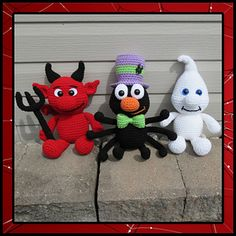 Halloween Chubbies 2 includes instructions to make the Devil, Ghost and Spider. They sit approximately 8 inches tall if using worsted weight yarn.