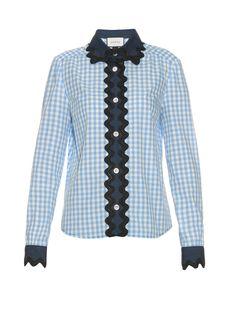 Denim-panelled gingham shirt    Gucci   MATCHESFASHION.COM US