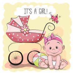 Cute cartoon baby girl vector art illustration