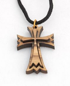 Original Bethlehem Olive Wood Maltese Cross Pendant on String Necklace Wooden Words, Wooden Art, Simple Wood Carving, Christmas Wood Crafts, Wooden Crosses, Laser Cut Jewelry, Maltese Cross, Wood Necklace, Scroll Saw Patterns