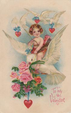 1910 Cherub Riding A Dove with Roses & Hearts Valentine Postcard