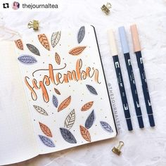 "1,310 Likes, 7 Comments - Bullet Journal features (@bujobeauties) on Instagram: ""I love this fall themed hello September page so much by @thejournaltea those colours are…"""