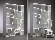 Space-saving bookshelf. Kind of impractical but really cool design.