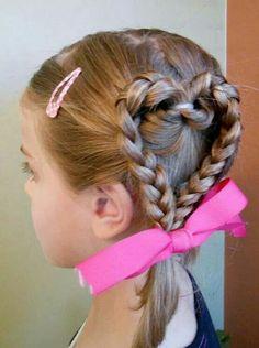 Hair braided into a heart shape