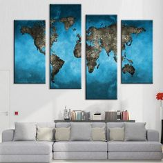 "Free Shipping!  This blue world map art from BigWallPrints.com is an affordable way to make an impact in any room! Our panel art is printed on high quality canvas, and will stand the test of time looking great in your space!  Finished Size on Wall: 48"" x 36""  12"" x 24"" x 2 pieces  12"" x 32"" x 2 pieces"
