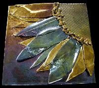 Fused, Glass, tiles, sunflowers, gold