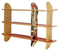 Skateboard deck bookshelves: Skateboard deck bookshelves