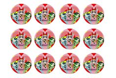 "Powerpuff Cupcake Toppers 12 X 2"" Circles Edible Icing Party Decoration Image 