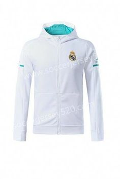 new styles 92d12 904aa 2017-18 Real Madrid White  soccer Jacket With Hat Allenamento Di Calcio,  Maglie