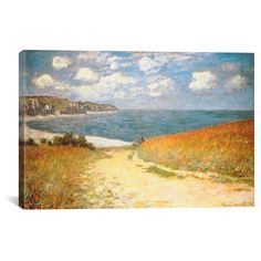 """Path in the Wheat at Pourville, 1882 by Claude Monet Canvas Print (18""""x26""""), Off-White Blue Green Yellow"""