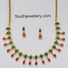 Diamond Necklace with Rubies and Emeralds - Indian Jewellery Designs Gold Earrings For Women, Gold Necklace Simple, Gold Jewelry Simple, Emerald Necklace, Bold Necklace, Stone Necklace, Gold Rings Jewelry, Gold Jewellery Design, Emerald Jewelry