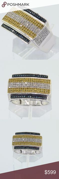 Men's 10K White Gold Yellow & Blue Diamond Ring Men's 10K White Gold Yellow & Blue Micro Pave Diamond Ring 1.5 CT  Gemstones: Round Brilliant Diamonds  Total Carat Diamonds : 1.5CT   Color: Fancy Yellow & Blue  Clarity:I1-I3  Mounting metal: 10K White gold  Ring Size:  10-1/2  Total weight of piece:6.2g   Regular Price: $2800  ITEM'S VIDEO LINK https://youtu.be/F8p1UMWJCok  Please feel free to contact me for any inquiry. Accessories Jewelry