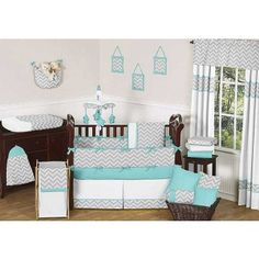 For a boy- so cute!  Turquoise & Gray Crib Bedding Set but with stripes not chevron