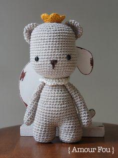 Pemberley the King Bear Crochet Pattern by by AmourFouCrochet