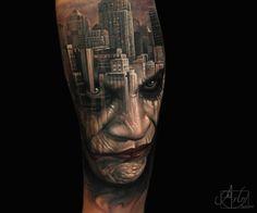 Arlo double exposure joker tattoo