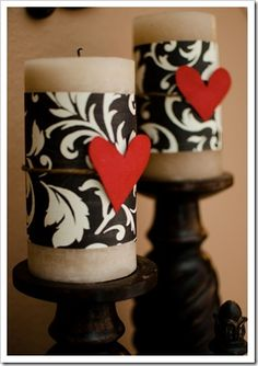 Spruce up some LOVELY candles for Valentine's decor. Scrapbook paper, twine, and a cut out heart. EZ