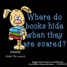 Tonight's Joke for Tomorrow's Students!⠀ Where do books hide when they are scared?⠀ Under the covers! Tonight's Joke for Tomorrow's Students!⠀ Where do books hide when they are scared?⠀ Under the covers! Funny Riddles, Cute Jokes, Jokes And Riddles, Corny Jokes, Funny Jokes For Kids, Best Funny Jokes, Good Jokes, Funny Puns, Funny Quotes