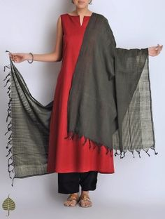 Black Natural Dyed Cotton Handwoven Dupatta