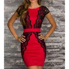 $16.28 Sexy Jewel Neck Lace Splicing Short Sleeve Backless Dress For Women
