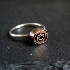 Copper Rose Ring copper and silver ring door CinnamonJewellery, £17.50